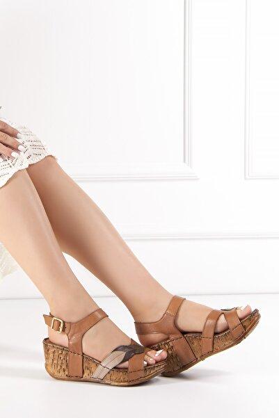 Venüs Kadın Taba Hakiki Deri Sandalet 2113502