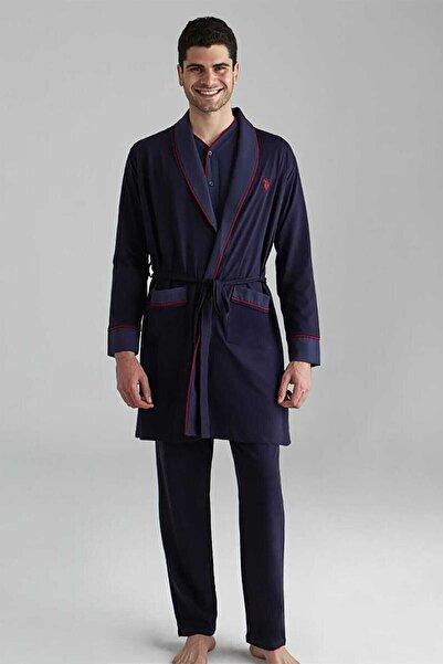 U.S. Polo Assn. Erkek Lacivert 1 Uzun Kollu Pijama +1 Kısa Kollu Şortlu Takım+1 Sabahlık