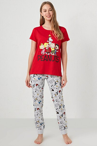 LC Waikiki Kadın Canlı Kırmızı Peanuts Pijama Takım