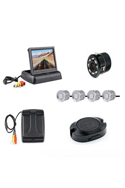 Mfk 4.3' Açılır Kapanır Kameralı  Komple +4 Adet Gri  Park Sensörü