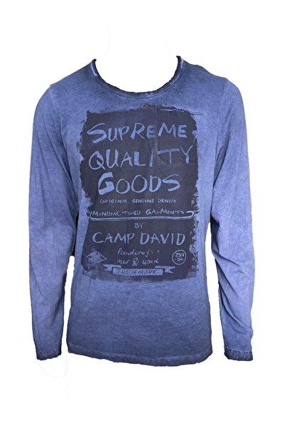 Camp David Erkek Lacivert Uzun Kol Baskılı T-shirt