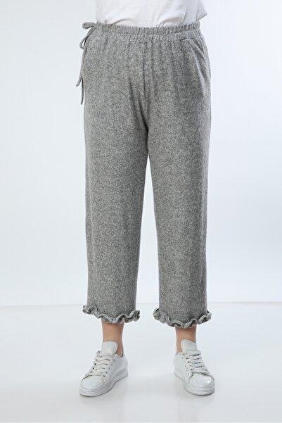 Moda Cazibe Kadın Gri Yumoş Paça Fırfır Detaylı Pijama Alt