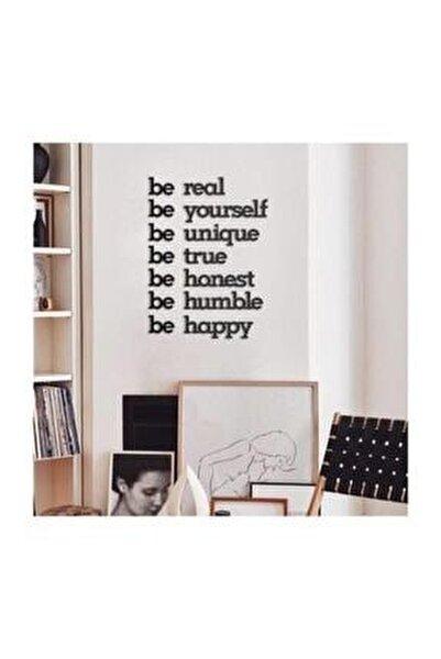 Siyah Be Real Be Yourself Ahşap Mdf Dekoratif Duvar Yazısı