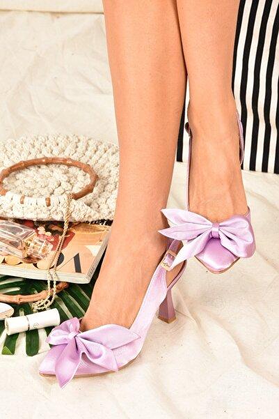 Fox Shoes Kadın Lila Saten Kumaş Topuklu Ayakkabı K922164804