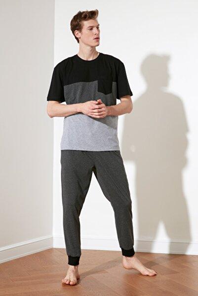 TRENDYOL MAN Antrasit Renk Bloklu Örme Pijama Takımı THMSS21PT0309