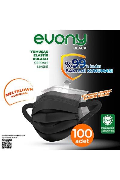 Evony Siyah Elastik Kulaklı Maske 100 Adet