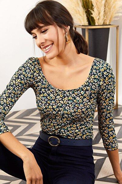 Olalook Kadın Çok Renkli Oval Yaka Altı Çıtçıtlı Bodysuit BDY-00000014