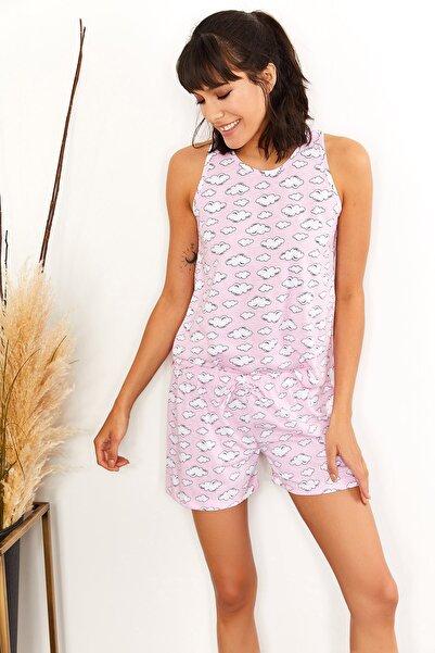 Olalook Kadın Bulut Pudra Şortlu Pijama Takımı PJM-00000012