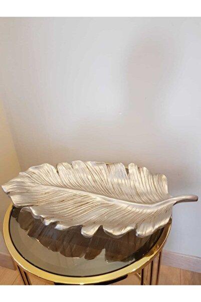 KIRAT HOME DESIGN Gümüş Dekoratif Eskitme Kayık Yaprak Tabak