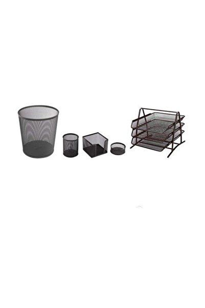 Temat Metal Ofis Seti 5'li Siyah (Evrak Rafı 3'lü + Çöp Kovası + Kalemlik + Küpnotluk+ataşlık)