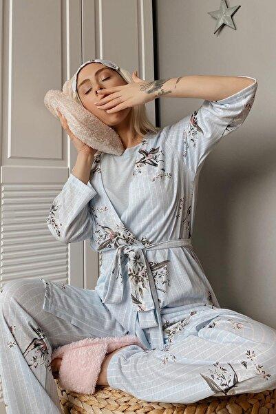 Pijamaevi Kadın Mavi Çiçek Baskılı Sabahlıklı Pijama Takımı