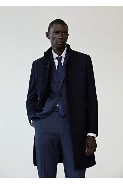 MANGO Man Erkek Lacivert Yün Palto