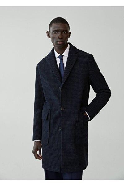 MANGO Man Kazayağı Desenli Yünlü Palto