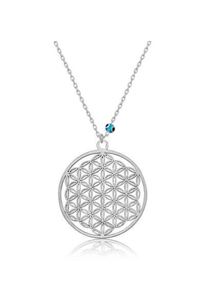 Gumush Kadın Gümüş Nazar Gözlü Yaşam Çiçeği Kolye