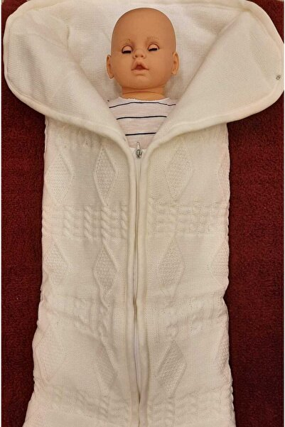 Aziz Bebe Bebek Kundak Battaniye Ekru