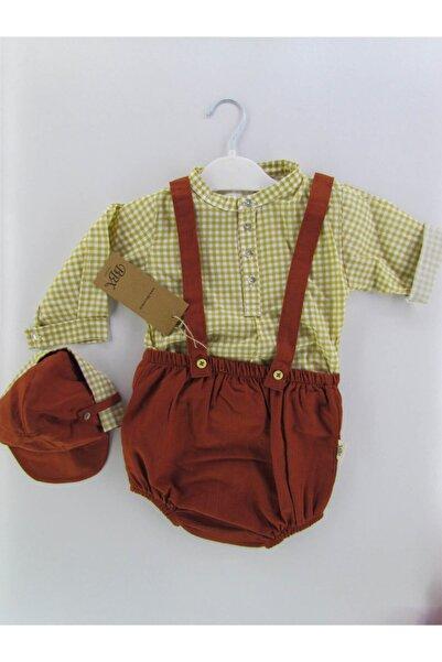 BBX EXCLUSIVE Runbaby Şapkalı Keten Salopet Bebek Takım