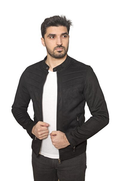 LİON KİNGS Erkek Siyah Süet Ceket