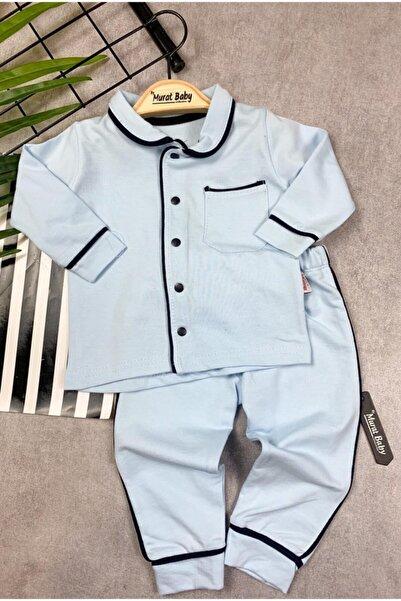 catciybu Mavi Bebek %100 Pamuk Yakalı Düğmeli Pijama Takım