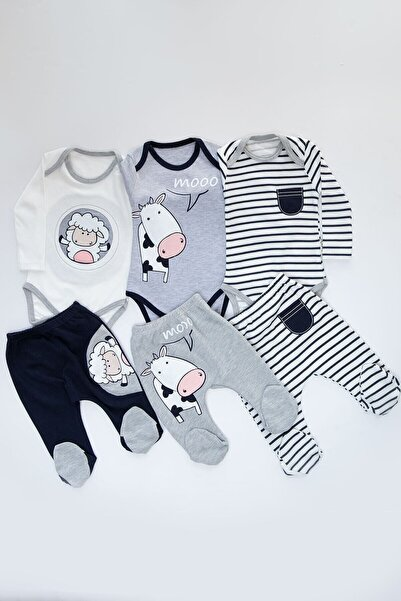 Mika Bebek Erkek Bebek Beyaz Kuzu İnek Desenli 6 Parça 3 Set Çıtçıtlı Takım