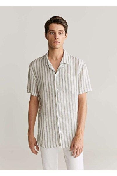MANGO Man Erkek Haki Renk Regular Kesim Çizgili %100 Keten Gömlek 77000512
