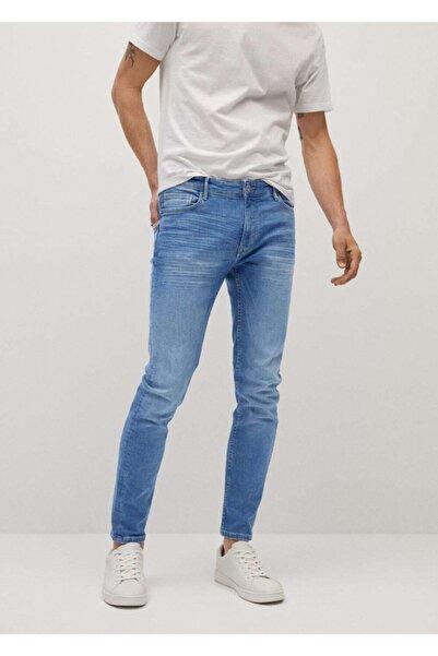 MANGO Man Erkek Donuk Mavi Skinny Orta Açık Yıkama Jude Jean Pantolon 77010524