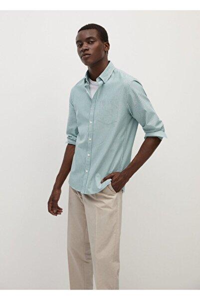 MANGO Man Erkek Haki Dar Kesim Çizgili Pamuklu Gömlek