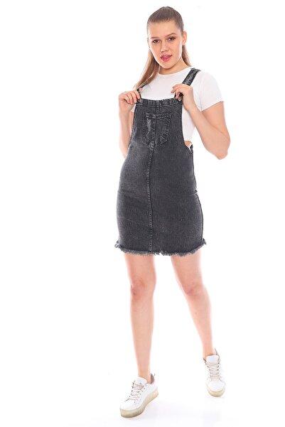 Alışveriş Sokağı Önü Cep Detaylı Kot Salopet Elbise