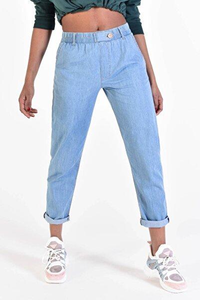 Addax Kadın Açık Kot Rengi Beli Lastikli Pantolon Pn4257 - Pnp ADX-0000022003