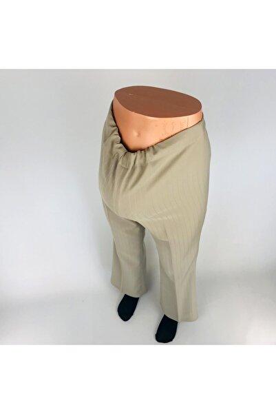 sny Boru Paça Rahat Kalıp Çizgili Belden Lastik Ayarlı Bej Hamile Pantolon