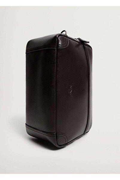 MANGO Man Erkek Kahverengi Fermuarlı Pürtüklü Kozmetik Çantası