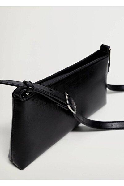 MANGO Woman Kadın Siyah Baguette Çanta