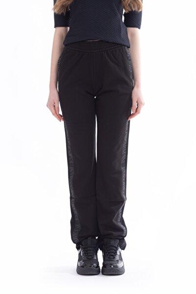 Emporio Armani Kadın Siyah Yanları Logo Bantlı Jogger Pantolon