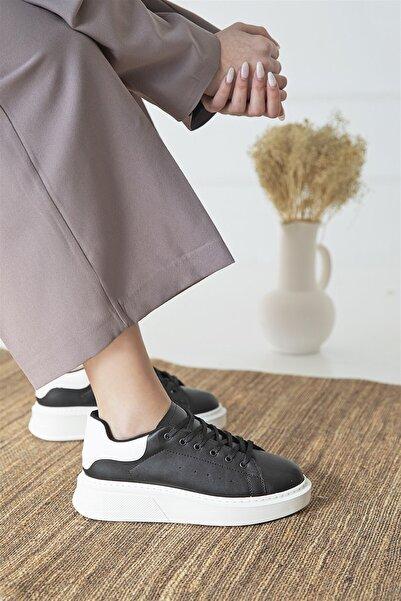 STRASWANS Huws Kadın Deri Spor Ayakkabı Siyah-beyaz