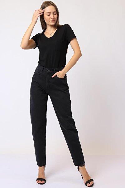 Twister Jeans Kadın Siyah Mom Fit Yüksek Bel Pantolon 9132-07