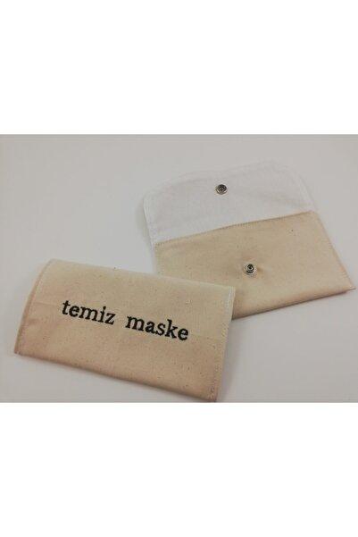 Minderya Temiz Maske Nakışlı Ham Keten Pratik Çıtçıtlı Maske Çantası Maske Saklama Mask Bag