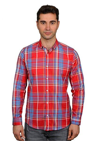 King Bee Erkek Kırmızı 2021 Yaz Sezonu Ekose Slim Fit Smart Casual Gömlek