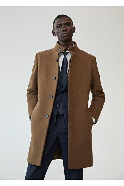 MANGO Man Erkek Kahverengi Yün Palto