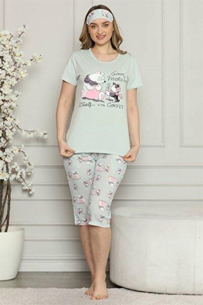 TrendBu Kadın %100 Pamuk Penye Kısa Kol Kapri Pijama Takım 3529
