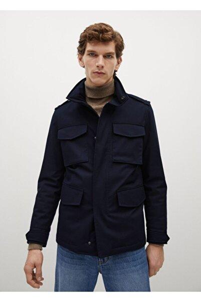MANGO Man Erkek Lacivert Gizli Kapüşonlu Ceket