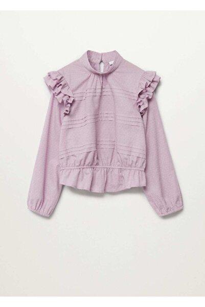 MANGO Kids Kız Çocuk Mor Fırfırlı Plumeti Bluz