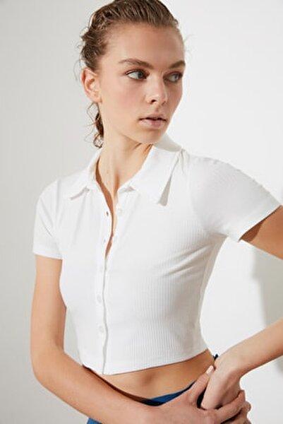 Beyaz Polo Yaka Fitilli Örme Bluz TWOSS21BZ1142