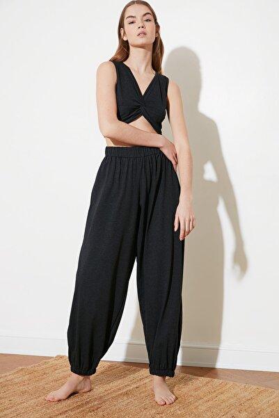 TRENDYOLMİLLA Antrasit Beli Lastikli Şalvar Görünümlü Örme Harem Pantolon TWOSS21PL0303