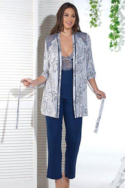Sevim Kadın Lacivert Desenli Pijama Takım 12731