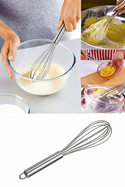 İndirimKap Paslanmaz Çelik Çırpıcı Pratik Yumurta Sos Karıştırıcı Çırpma Teli 21 Cm