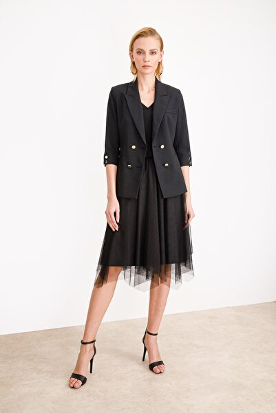 Ekol Kadın Siyah Kruvaze Ceket