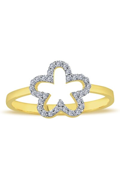 Lova Kadın Altın Pırlanta Çiçek Yüzük - 1040405