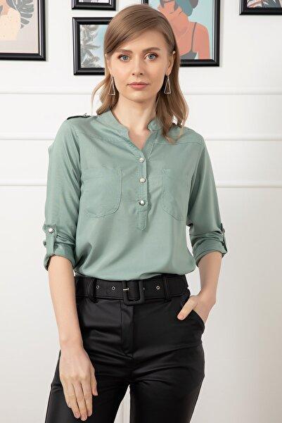 D-Paris Kadın Yeşil Cepli Gömlek
