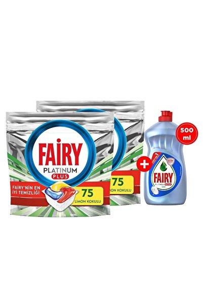 Fairy Platinum Plus 150 Kapsül Bulaşık Makinesi Deterjanı + 500 ml Elde Bulaşık Deterjanı Hijyen