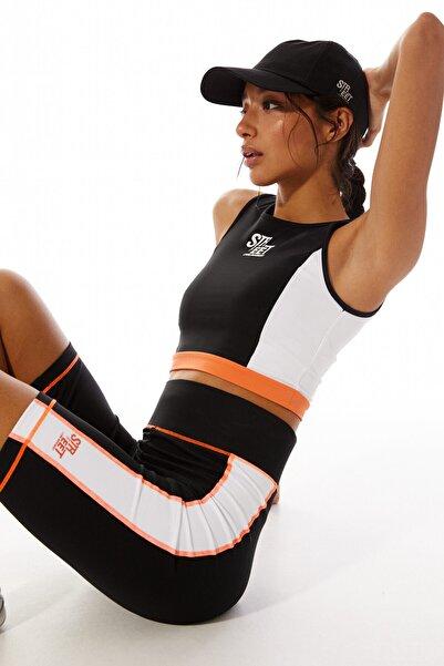 Stradivarius Kadın Siyah Blok Renkli Str-Eet Bisikletçi Spor Taytı 01243558