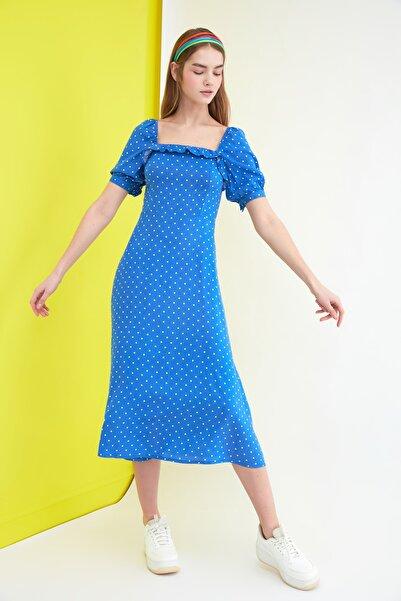 TRENDYOLMİLLA Indigo Puantiyeli Elbise TWOSS21EL0511